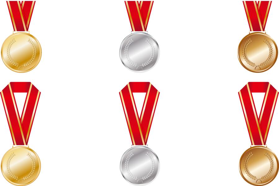 フリーイラスト 6種類の金メダル、銀メダル、銅メダルのセット