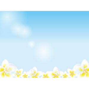 フリーイラスト, ベクター画像, AI, 背景, 青空, 夏, 植物, 花, プルメリア, しゃぼん玉(シャボン玉)