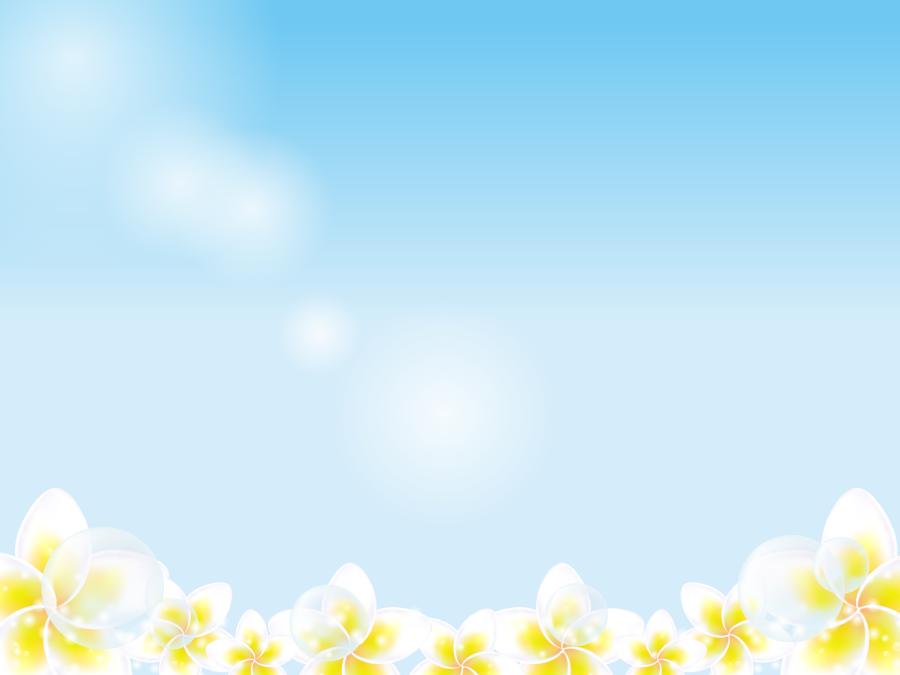 フリーイラスト 青空とプルメリアの花の背景