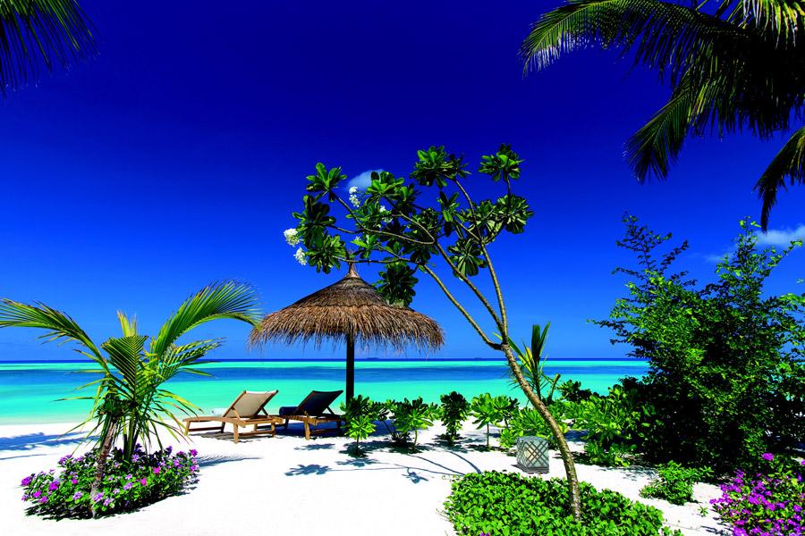 フリー写真 モルディブのビーチリゾートの風景