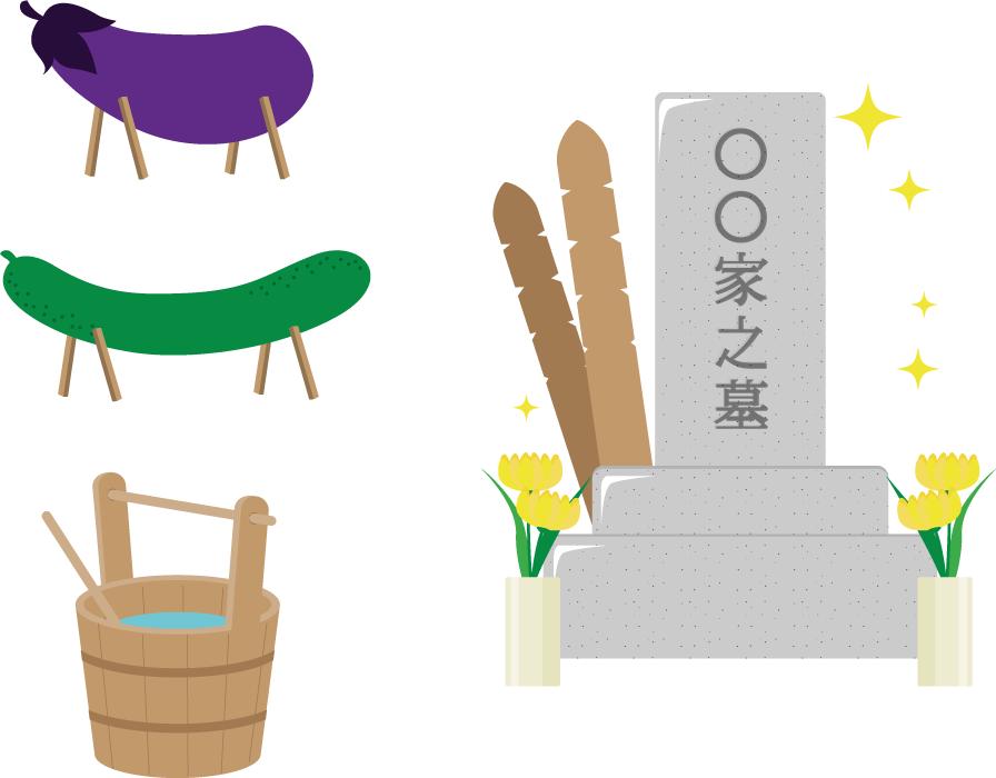 フリーイラスト お墓と手桶と精霊馬