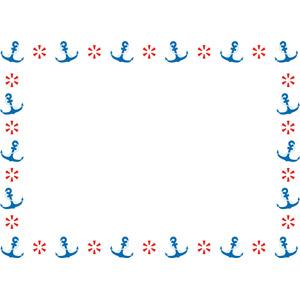 フリーイラスト, ベクター画像, AI, 背景, フレーム, 囲みフレーム, 碇(いかり), 浮き輪, 夏
