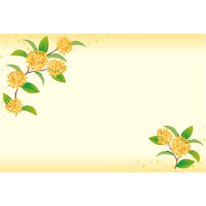 フリーイラスト, ベクター画像, EPS, 背景, フレーム, 対角フレーム, 植物, 花, 金木犀(キンモクセイ), オレンジ色の花, 秋