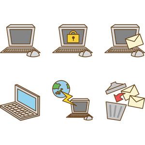 フリーイラスト, ベクター画像, AI, 家電機器, パソコン(PC), ノートパソコン, インターネット, 電子メール(Eメール), ゴミ箱, 錠前, セキュリティ, ディスプレイ(モニタ), キーボード(PC), マウス