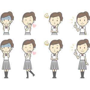 フリーイラスト, ベクター画像, AI, 人物, 少女, 少女(00270), 学生(生徒), 高校生, 学生服, 青ざめる, 冷や汗をかく, 恋する, 困る, 頬に手を当てる, 指差す, アドバイス