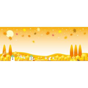 フリーイラスト, ベクター画像, EPS, 背景, 秋, 葉っぱ, 紅葉(黄葉), もみじ(カエデ), 兎(ウサギ), 自転車, 田舎, 女の子, 月, 満月, 星(スター), 家(一軒家), 猫(ネコ), 薄(ススキ), バナー
