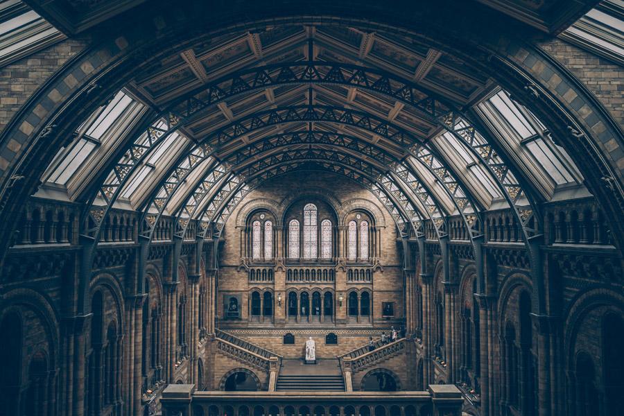 フリー写真 ロンドン自然史博物館の中央ホールの風景
