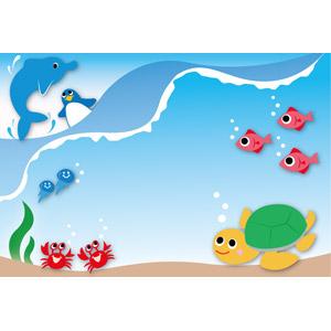 フリーイラスト, ベクター画像, EPS, 背景, 動物, 魚(サカナ), イルカ, 海, 水中, 海月(クラゲ), 蟹(カニ), ペンギン, 亀(カメ)
