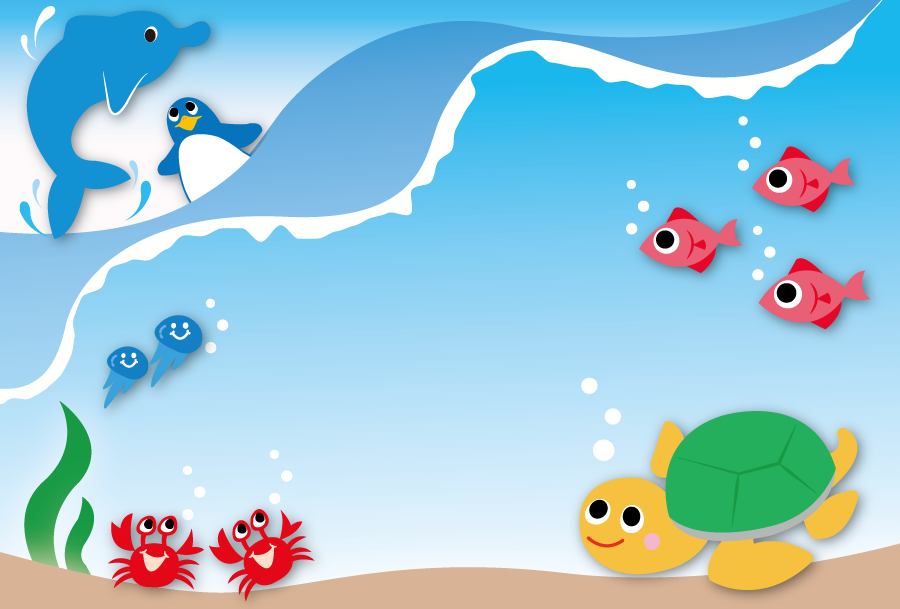 フリーイラスト 海の中の生物たちの背景