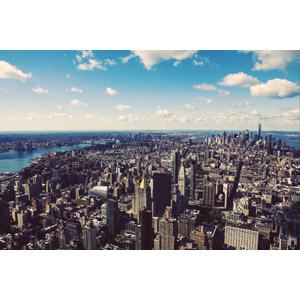 フリー写真, 風景, 建造物, 建築物, 高層ビル, 都市, 街並み(町並み), アメリカの風景, ニューヨーク, 青空, 雲