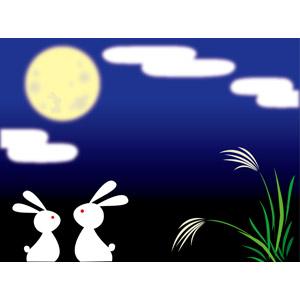 フリーイラスト, ベクター画像, EPS, 背景, 年中行事, お月見(観月), 十五夜(中秋の名月), 秋, 薄(ススキ), 月, 月の兎, 夜, 兎(ウサギ)