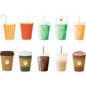 フリーイラスト, ベクター画像, AI, 飲み物(飲料), ジュース, オレンジジュース, メロンソーダ, コーヒー(珈琲), カフェラテ(カフェ・ラッテ), アイスコーヒー, タンブラー, 紙コップ