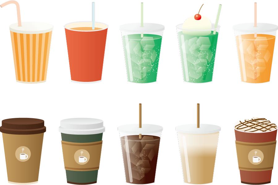フリーイラスト コーヒーやジュースのテイクアウトのドリンクセット