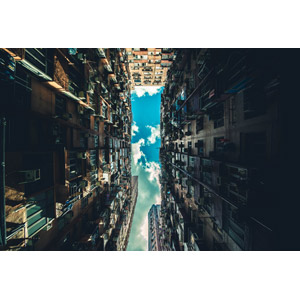 フリー写真, 風景, 建造物, 建築物, 高層ビル, マンション(団地), 雲, 青空, 中国の風景, 香港