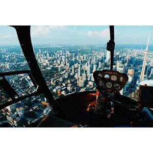 フリー写真, 乗り物, 航空機, ヘリコプター, コックピット, 風景, 建造物, 建築物, 高層ビル, 都市, 街並み(町並み), 塔(タワー), CNタワー, カナダの風景, トロント