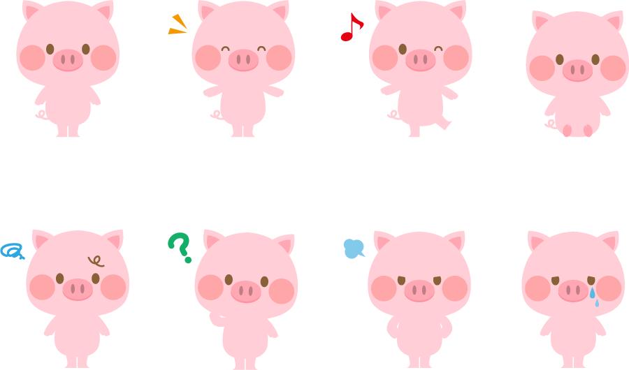 フリーイラスト 様々な表情のピンク色のぶたのセット