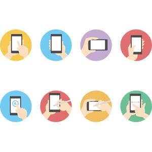 フリーイラスト, ベクター画像, AI, 携帯電話, スマートフォン(スマホ), タッチ操作, 人体, 手, ピンチアウト, アイコン
