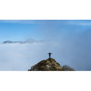 フリー写真, 風景, 山, 雲海, 人と風景, 手を広げる, オーストリアの風景