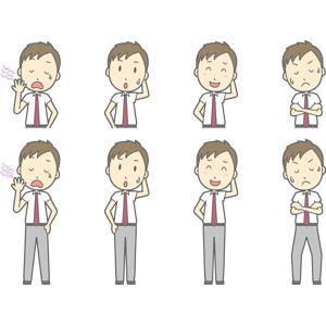 フリーイラスト, ベクター画像, AI, 人物, 少年, 少年(00274), 学生(生徒), 高校生, 学生服, 欠伸(あくび), 照れる, 失敗, 頭を掻く, 悩む, 考える, 腕を組む, 忘れ物