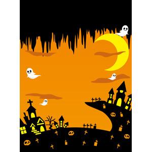 フリーイラスト, ベクター画像, EPS, 背景, 年中行事, ハロウィン(ハロウィーン), 10月, 秋, 幽霊(お化け), 三日月, 墓地, オレンジ色, 十字架, 頭蓋骨(髑髏)