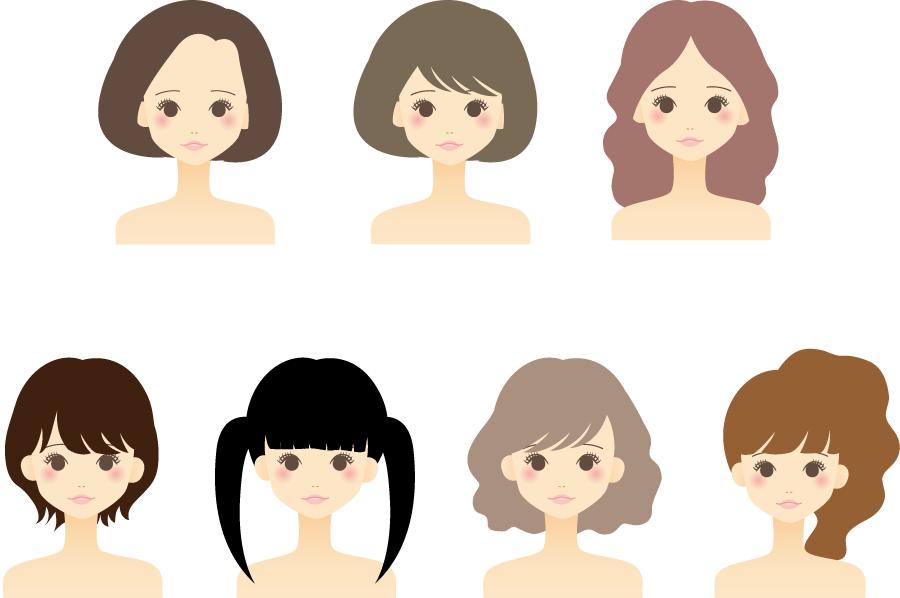 フリーイラスト ツインテールなどの7人の女性のセット