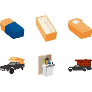 フリーイラスト, ベクター画像, AI, 葬式(葬儀), 死, 棺(棺桶), 霊柩車, 祭壇, 自動車