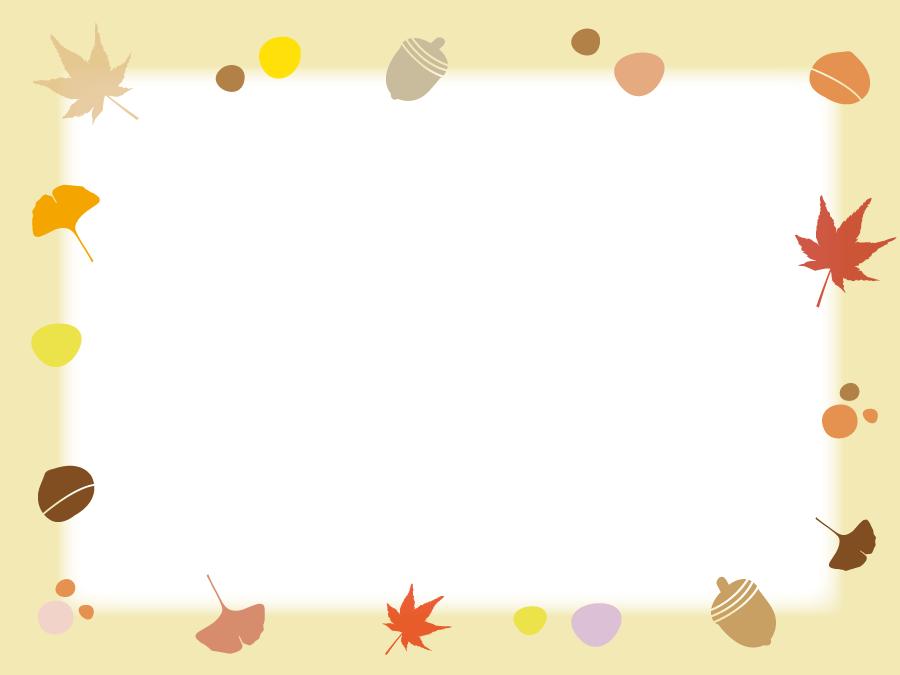 フリーイラスト 落ち葉や木の実などの秋の飾り枠