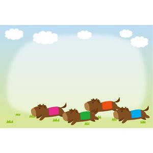 フリーイラスト, ベクター画像, EPS, 背景, フレーム, 囲みフレーム, スポーツ, アニマルスポーツ, 競馬, 動物, 哺乳類, 馬(ウマ), 雲