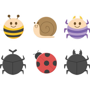 フリーイラスト, ベクター画像, AI, 動物, 昆虫, 蜂(ハチ), カタツムリ, 蜘蛛(クモ), クワガタムシ, カブトムシ, てんとう虫(テントウムシ)