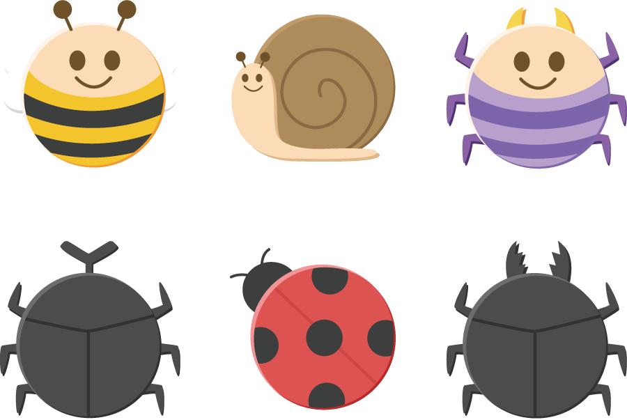 フリーイラスト 6種類の丸い虫のセット