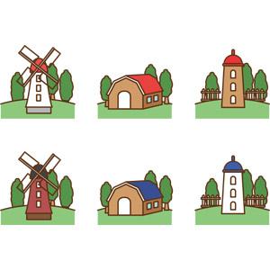 フリーイラスト, ベクター画像, AI, 建造物, 建築物, 風車, 家畜小屋, 小屋(納屋), サイロ, 農業, 牧畜, 牧場