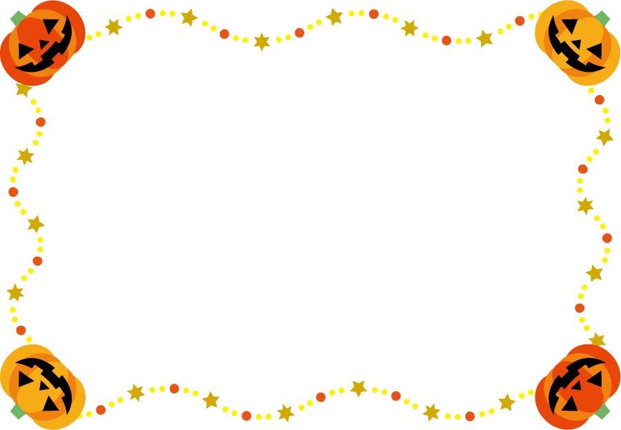 フリーイラスト ジャックランタンのハロウィンの飾り枠