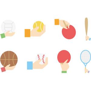 フリーイラスト, ベクター画像, AI, 人体, 手, スポーツ, バスケットボール, バレーボール, テニス, テニスボール, テニスラケット, 野球(ベースボール), 野球ボール, バット, 卓球(ピンポン), ラケット(卓球), 球技