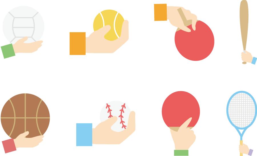 フリーイラスト スポーツ用具と手のセット