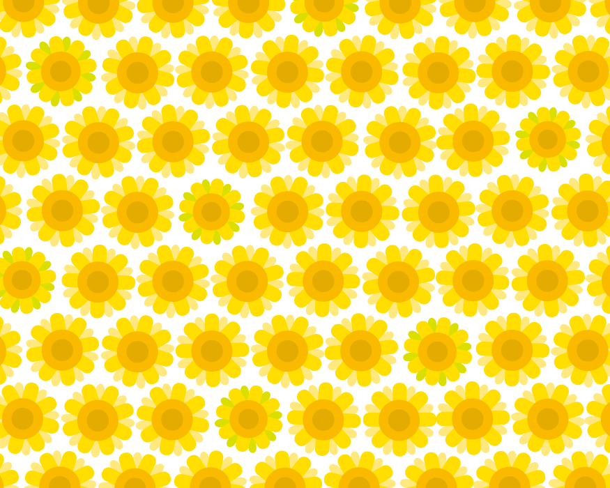 フリーイラスト ひまわりの花柄の背景