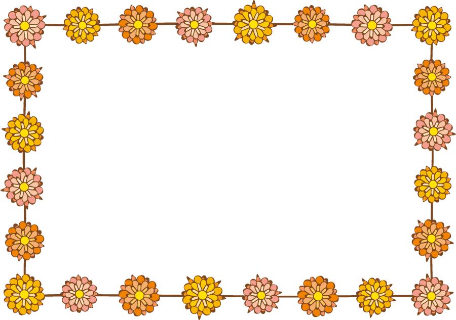 フリーイラスト ダリアの花の飾り枠