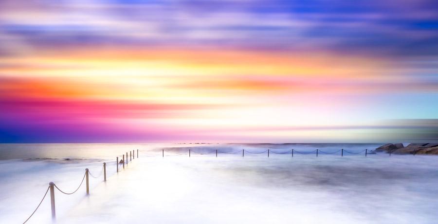 フリー写真 夕暮れの海岸風景