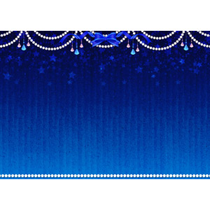 フリーイラスト, ベクター画像, AI, 背景, フレーム, 上下フレーム, 宝石, 真珠(パール), 星(スター), 青色(ブルー), リボン