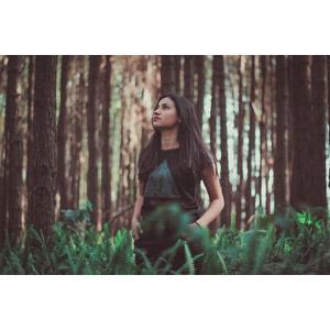 フリー写真, 人物, 女性, 外国人女性, ブラジル人, 人と風景, 森林, ポケットに手を入れる, 見上げる(上を向く)