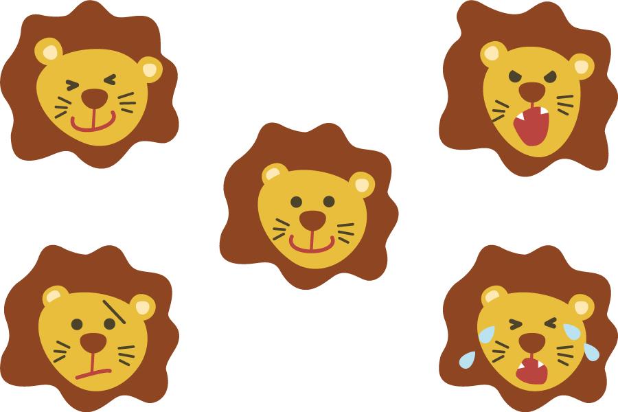 フリーイラスト 喜怒哀楽のライオンの顔のセット
