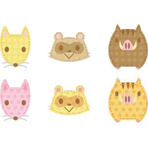 フリーイラスト, ベクター画像, AI, アップリケ(ワッペン), 動物, 哺乳類, 狐(キツネ), 狸(タヌキ), 猪(イノシシ), 動物の顔