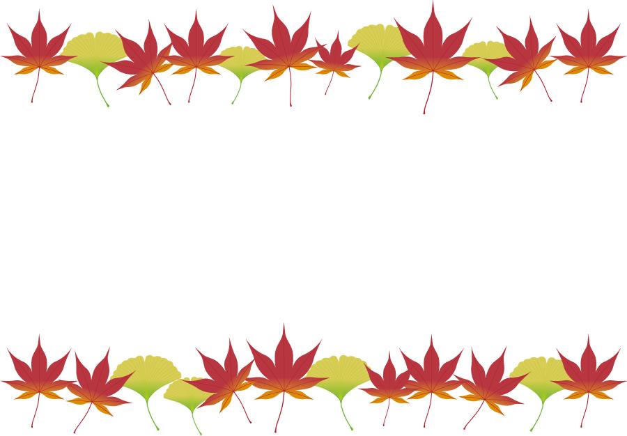 フリーイラスト もみじといちょうの葉の飾り枠