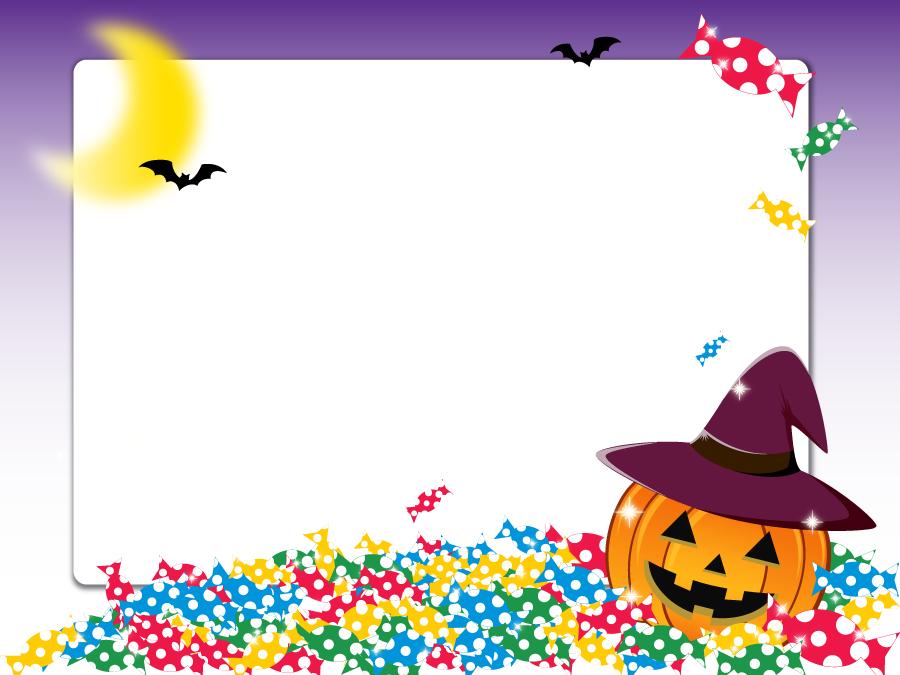 フリーイラスト ジャックランタンとキャンディのハロウィンフレーム