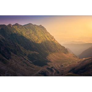 フリー写真, 風景, 山, 道路, 夕暮れ(夕方), ルーマニアの風景