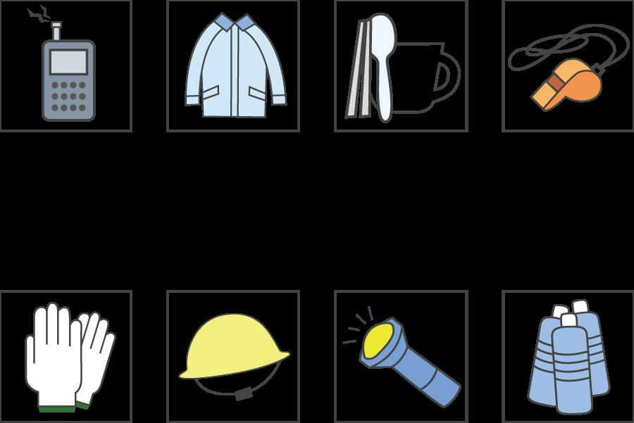 フリーイラスト 軍手や懐中電灯などの防災グッズのアイコンセット