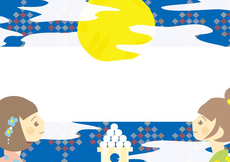 フリーイラスト お月見する少女と月見団子