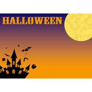 フリーイラスト, ベクター画像, AI, 背景, 年中行事, ハロウィン(ハロウィーン), 10月, 秋, 月, 満月, お化け屋敷