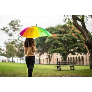フリー写真, 人物, 女性, アジア人女性, 傘, 雨, 後ろ姿
