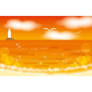 フリーイラスト, ベクター画像, EPS, 風景, 海, 夕暮れ(夕方), 夕焼け, 灯台(ライトハウス), 鴎(カモメ)