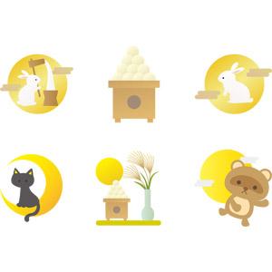 フリーイラスト, ベクター画像, AI, 年中行事, お月見(観月), 十五夜(中秋の名月), 秋, 薄(ススキ), 月, 満月, 三日月, 月の兎, 餅つき, 9月, 月見団子, 黒猫, 狸(タヌキ)